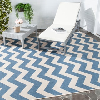 Safavieh Courtyard Blue/ Beige Indoor Outdoor Rug