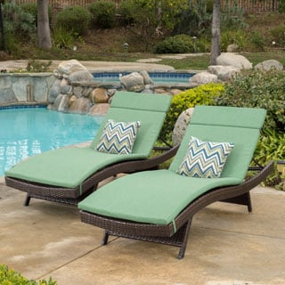 Christopher Knight Home Toscana Outdoor Wicker Adjustable Chaise Lounge with Cushion (Set of 2)