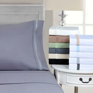 Wrinkle Resistant Embroidered 5-line Deep Pocket Sheet Set with Gift Box