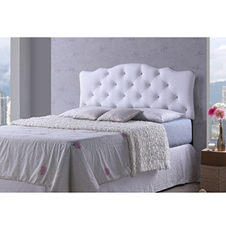 Baxton Studio Wexler White Contemporary Scalloped Faux Leather Upholstered Button Tufted headboard