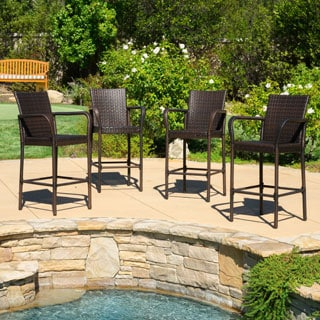 Christopher Knight Home Delfina Outdoor Wicker Barstool (Set of 4)