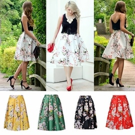 SAKURA FLORAL PRINT Women Vintage Stretch Skater High Waist Flared Pleated Skirt