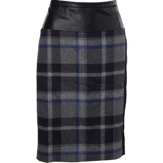 Calvin Klein Womens Plaid Mixed Media Pencil Skirt - 8