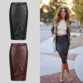 Womens Faux Leather Pencil Stretch Bodycon High Waist Skirt